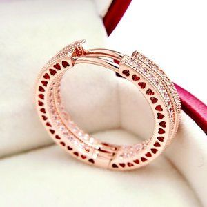 New Authentic Pandora Rose Gold Hearts of Hoop